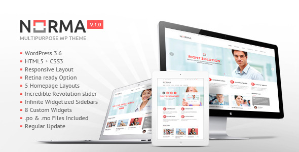 NORMA | Clean & Responsive WordPress Theme (Corporate) images