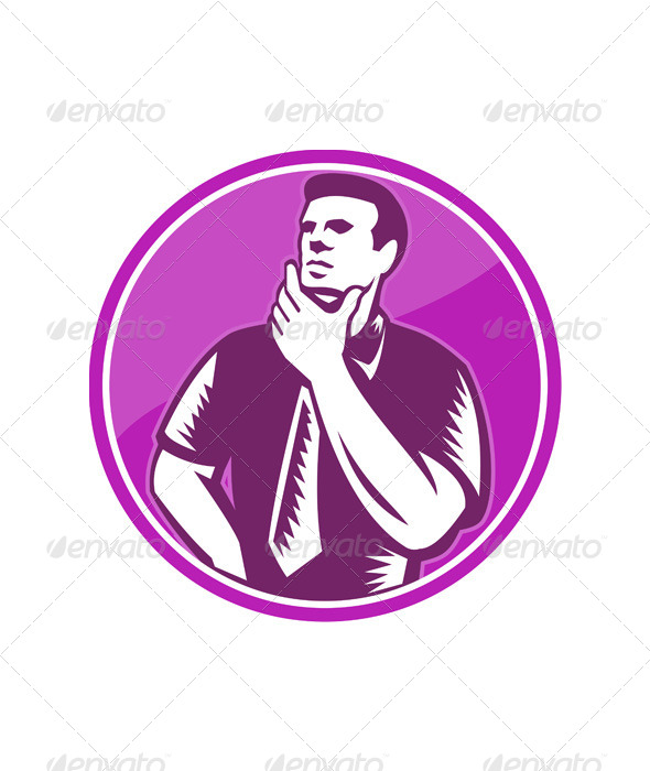 GraphicRiver Businessman Holding Chin Woodcut 5380476