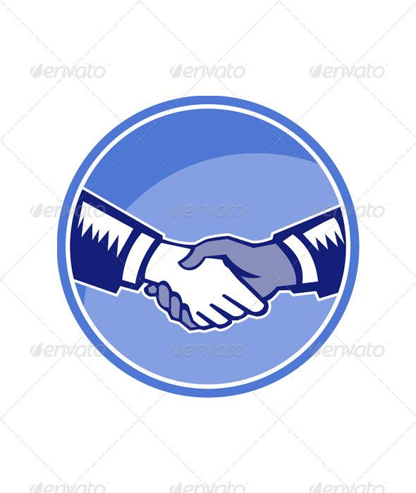 GraphicRiver Handshake Black White Woodcut Circle 5380500