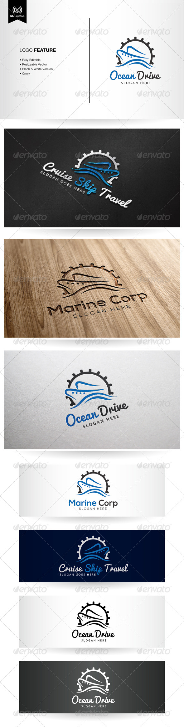 GraphicRiver Ocean Travel and Cruise Logo 5381729