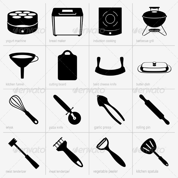 GraphicRiver Kitchenware Icons 5381743