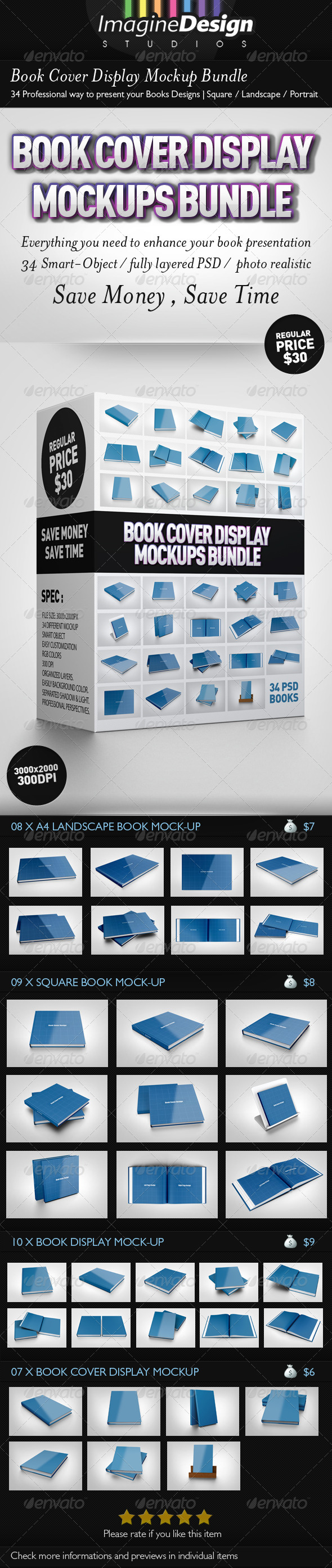Book Cover Display Mockup Bundle