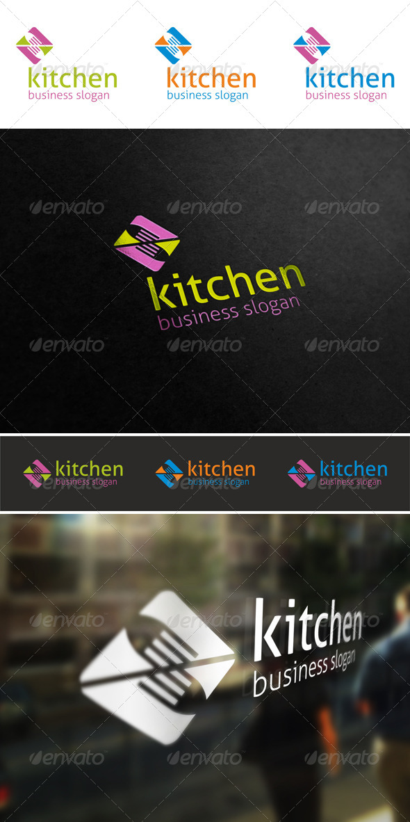 Kitchen Cuisine Fork Logo - Food Logo Templates