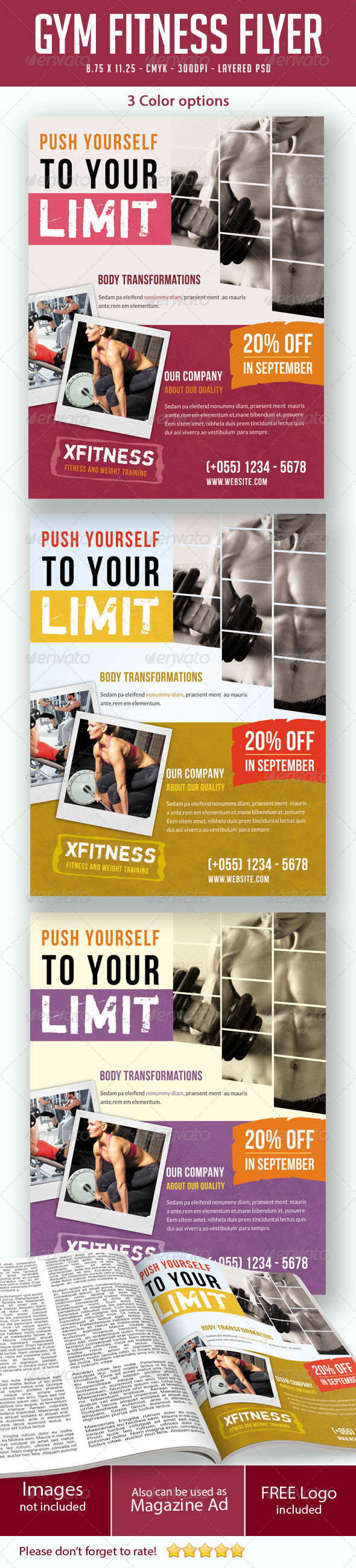 GraphicRiver Gym Fitness Flyer Print Ad 5343142