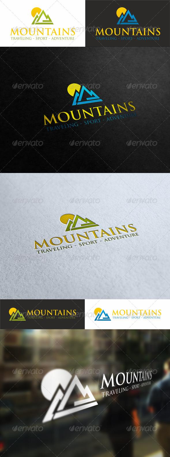 Sunny Mountains - Traveling Sport Logo - Nature Logo Templates