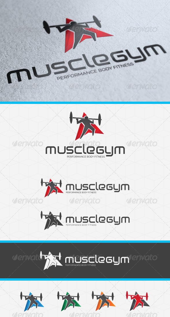 Muscle Gym Logo Template