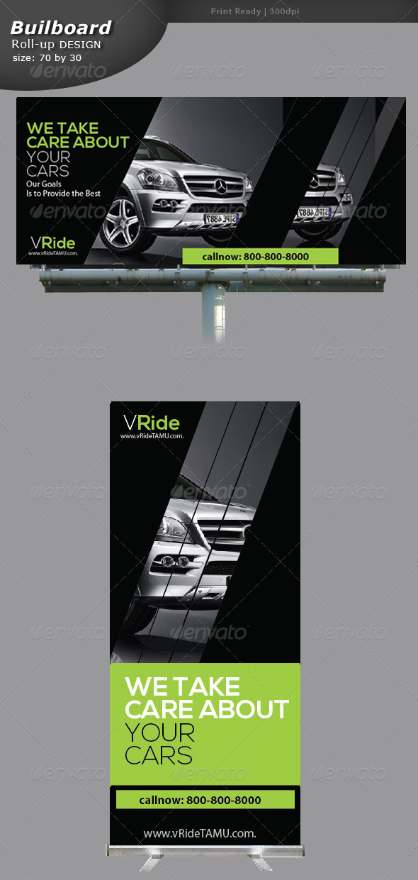 GraphicRiver Car Business Billboard and Roll-up 5337496