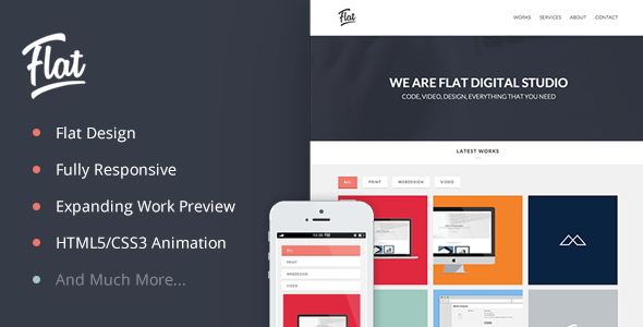 ThemeForest Flat Studio Responsive One Page HTML Template 5381503