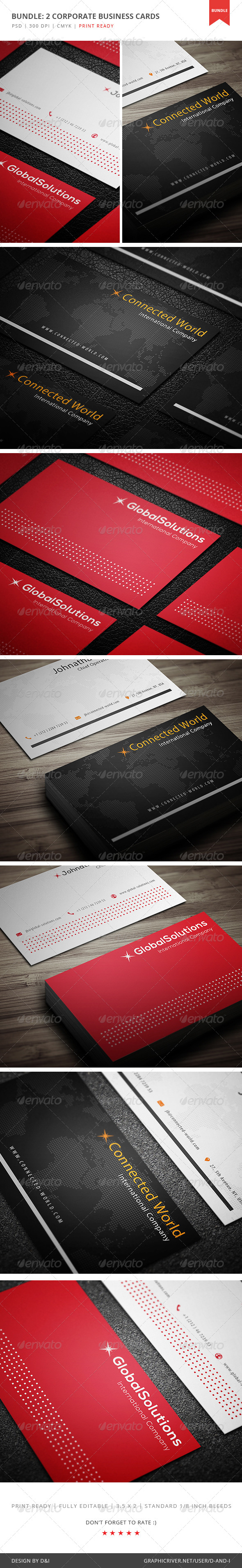 GraphicRiver Bundle 2 Corporate Business Cards by D&I 5383147