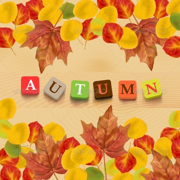 GraphicRiver Autumn Background with Leaves and Colorful Letters 5383208