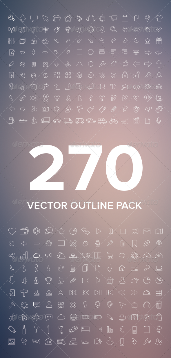 GraphicRiver 270 Vector Outline Icons 5379431