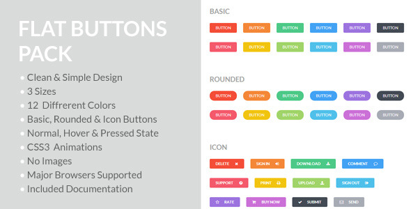CodeCanyon Flat Buttons Pack 5383923