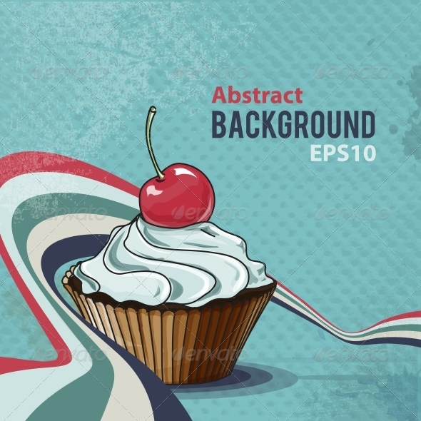 GraphicRiver Retro Background with Tasty Cupcake 5384357