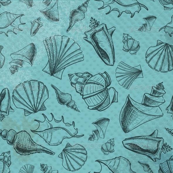 GraphicRiver Sea Shells Pattern 5384379