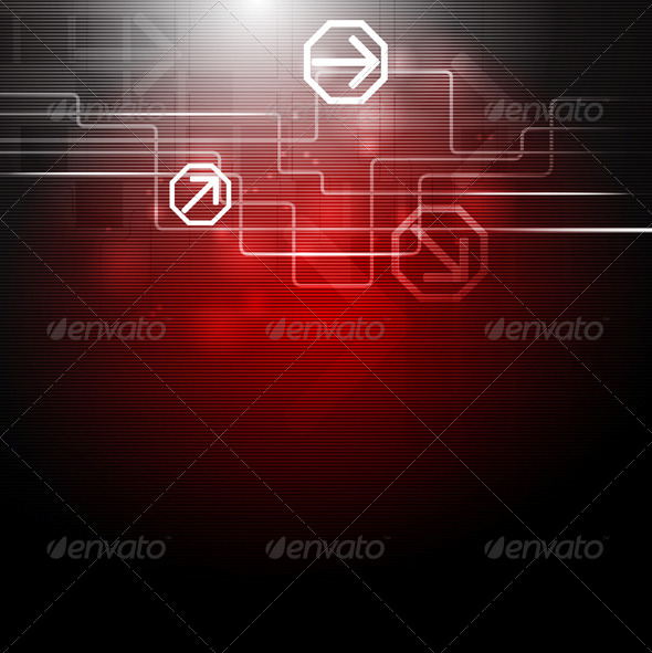 GraphicRiver Dark Red Technology Design 5384398