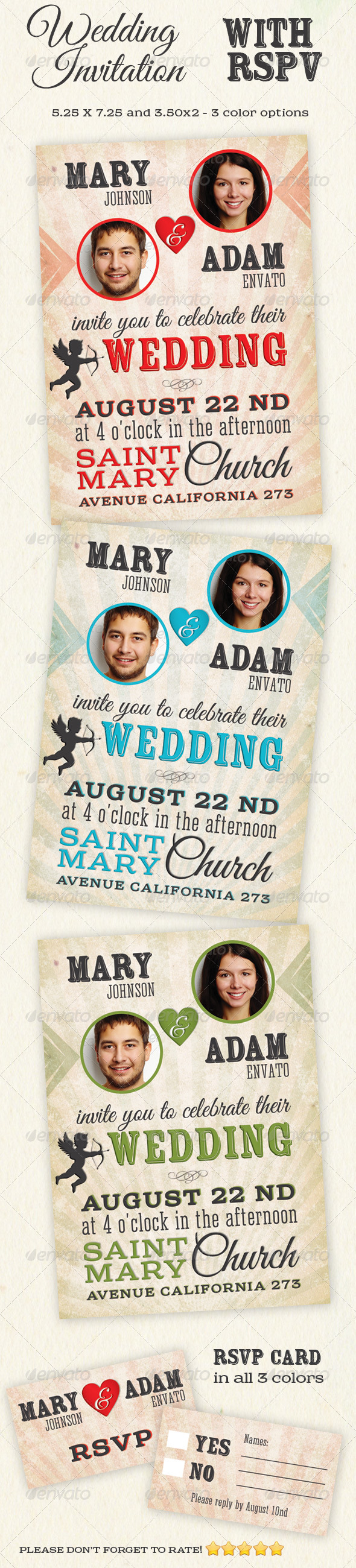 GraphicRiver Wedding Invitations with RSVP 5384684