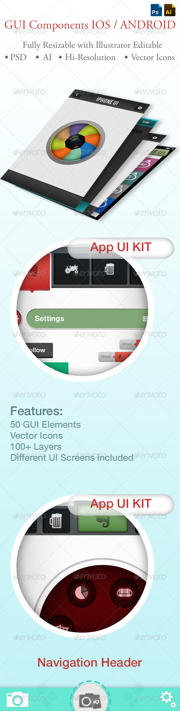 GraphicRiver GUI Components iPhone and Android 5384688