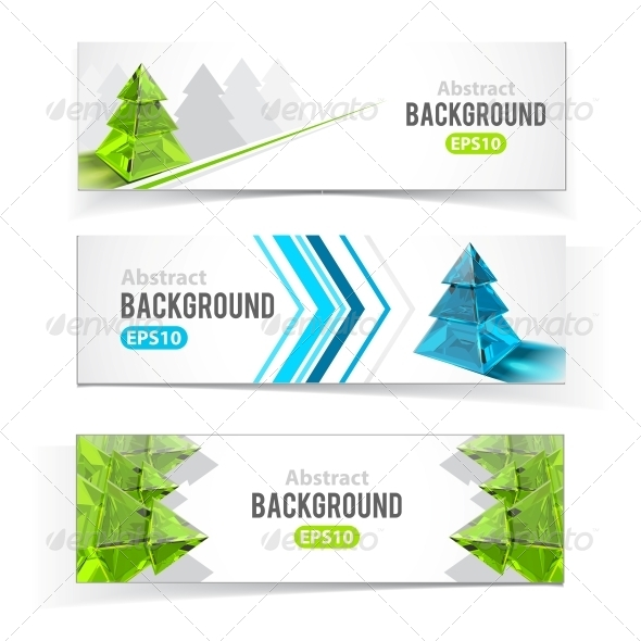 GraphicRiver Colorful Set of Banners with Christmas Trees 5384907