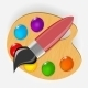 Wooden Art Palette with Paints and Brush - GraphicRiver Item for Sale