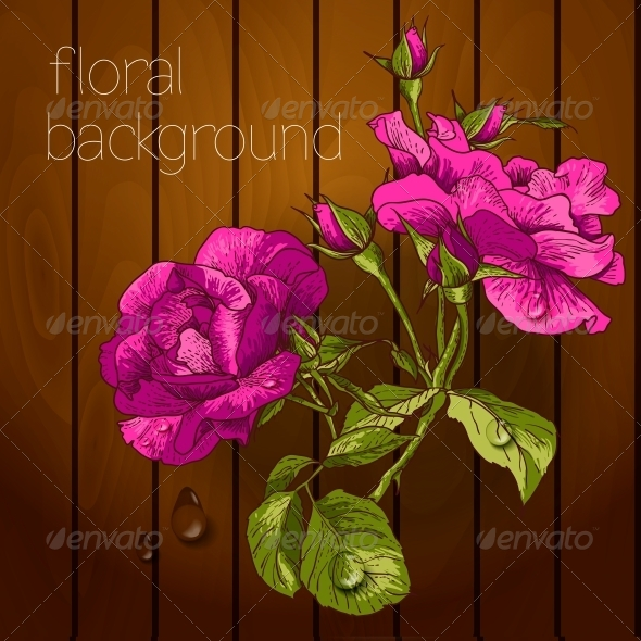 Flowers on a Wooden Texture
