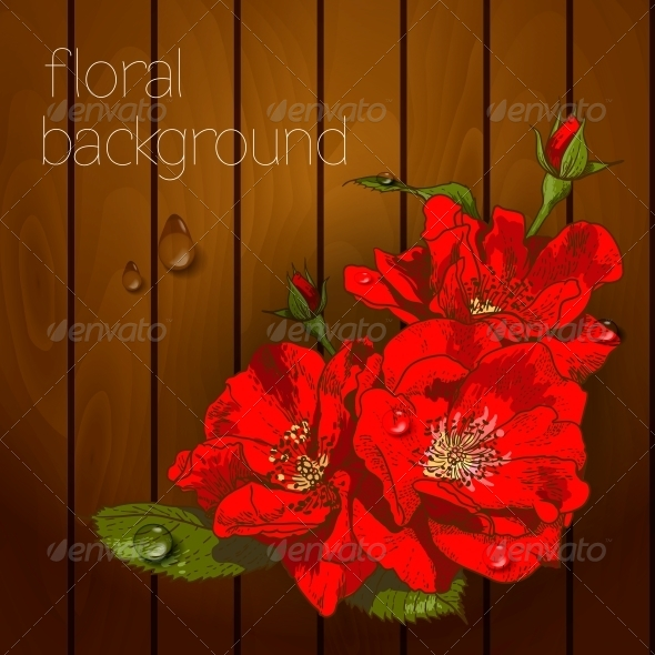 GraphicRiver Flowers on a Wooden Texture 5385049