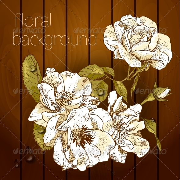 GraphicRiver Flowers on a Wooden Texture 5385052