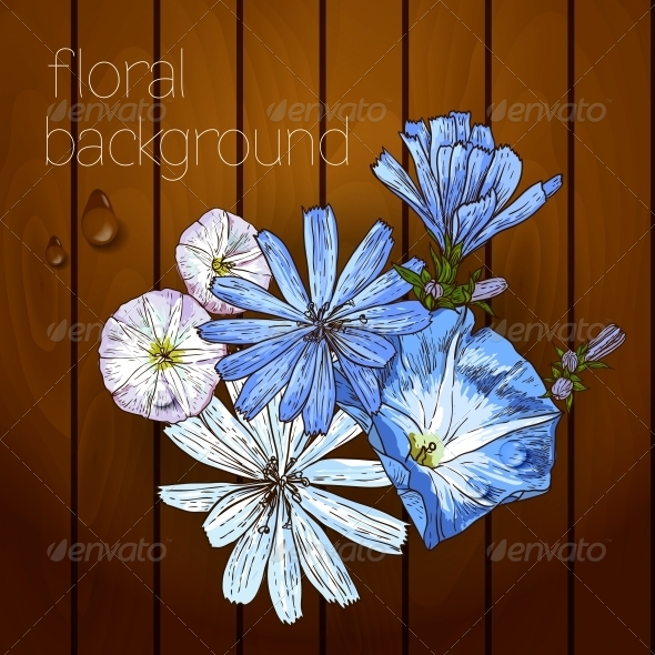 GraphicRiver Flowers on a Wooden Texture 5385056