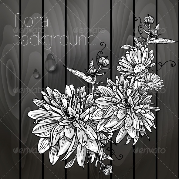 GraphicRiver Flowers on a Wooden Texture 5385084