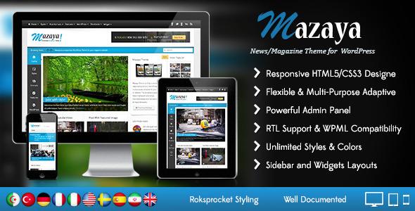 ThemeForest Mazaya Responsive WordPress News Magazine Theme 5292368