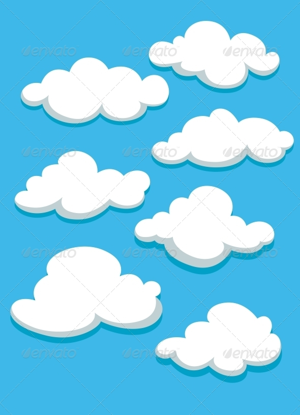 GraphicRiver White Clouds Set on Blue Sky 5385925