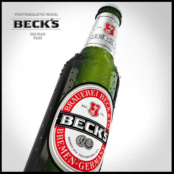 3DOcean Photo-real Becks Bottle 5387293