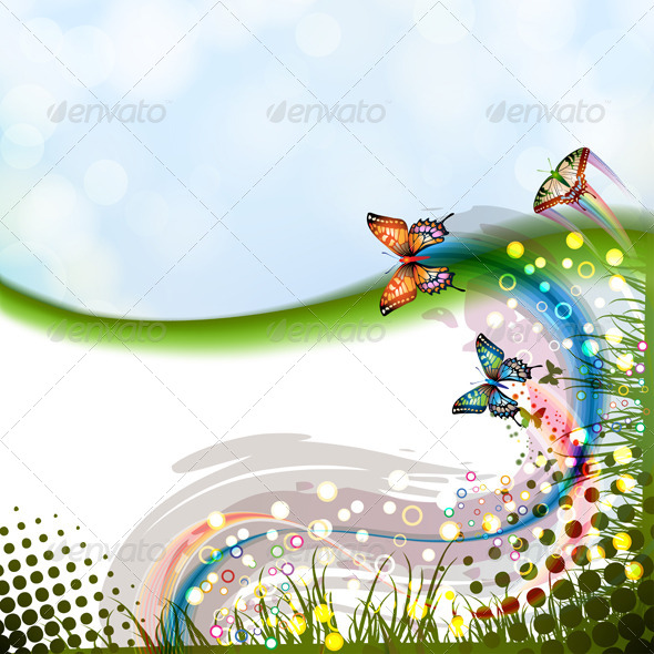 GraphicRiver Background with Butterflies 5387571
