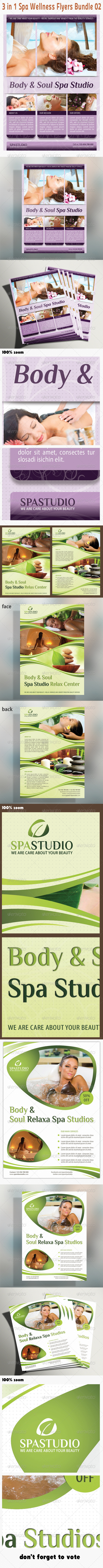 GraphicRiver 3 in 1 Spa Wellness Flyers Bundle 02 5387890