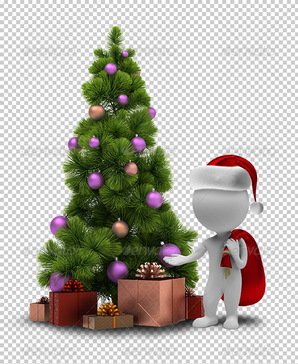 GraphicRiver 3D small people Santa and a Christmas tree 5388076