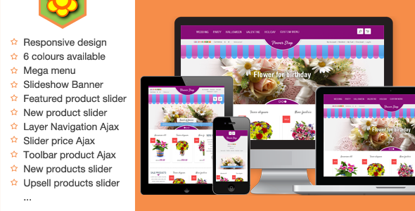 01 home.  large preview - Flower Responsive Magento Theme