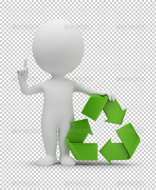 GraphicRiver 3D small people with a recycling symbol 5388090