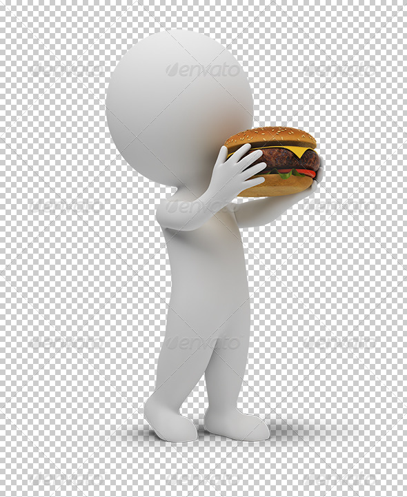 GraphicRiver 3D small people eats a hamburger 5388097