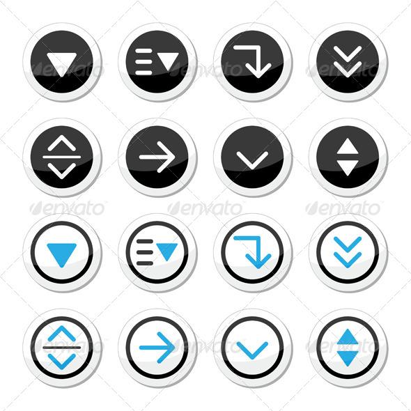 GraphicRiver Menu Drop Down Round Icons Set 5388581