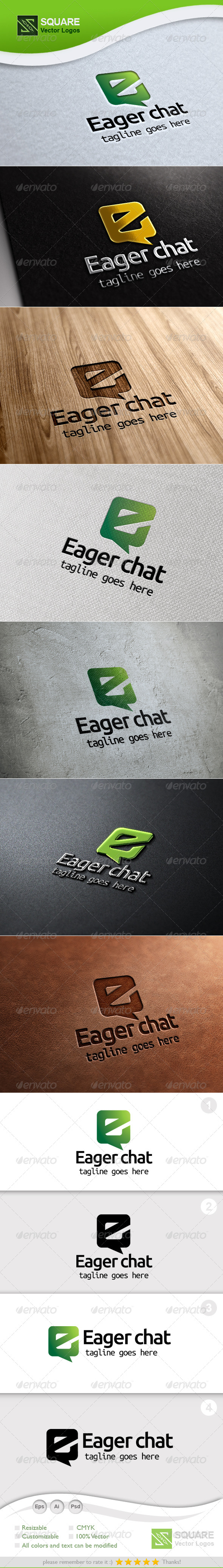 E, Chat Vector Logo Template - Letters Logo Templates