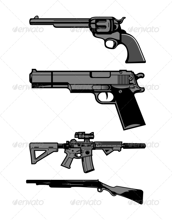 GraphicRiver Guns Vector Set 5388887