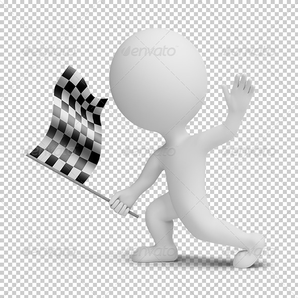 GraphicRiver 3D small people with a checkered flag 5388913