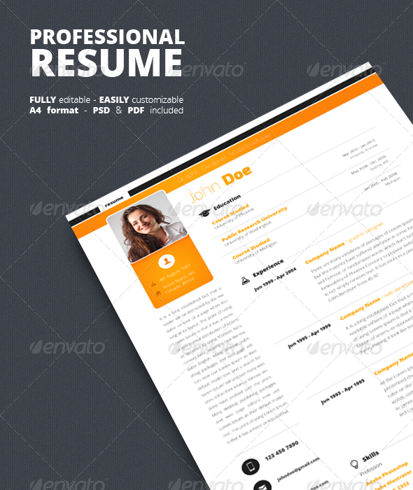 GraphicRiver Clean Resume CV 5350574