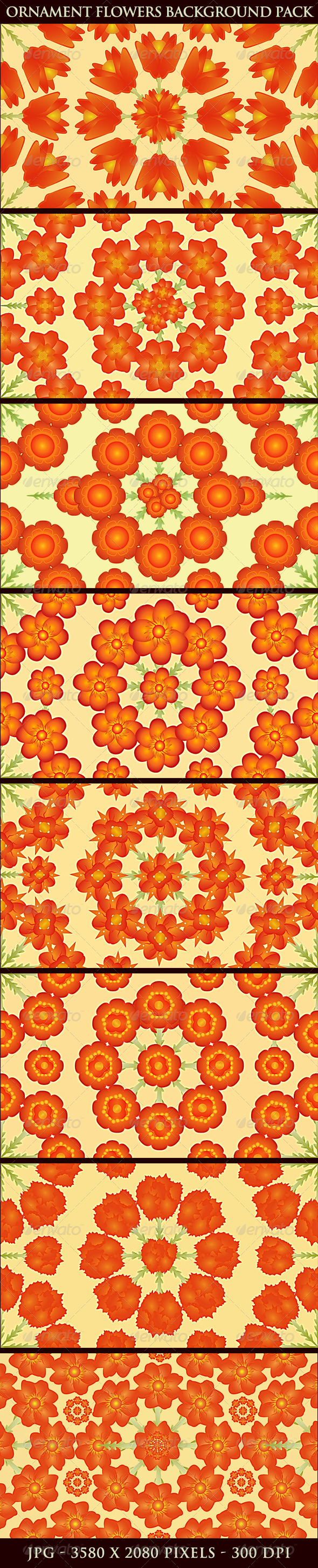 GraphicRiver Ornament Pattern Flowers Backgrounds Pack 5343663