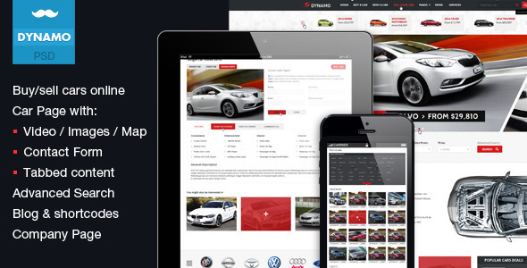 Dynamo psd Template is best solution to buy/sell cars online. This template is best suited for dealers, who need to do their business online via websites. 24 p