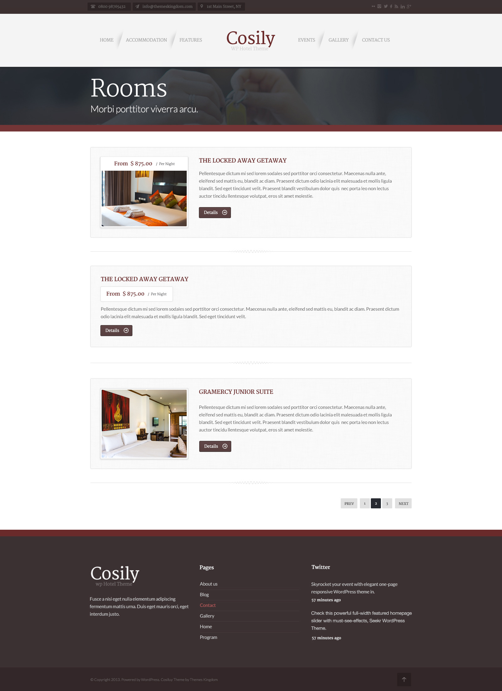 Cosily - WordPress Theme for hotels