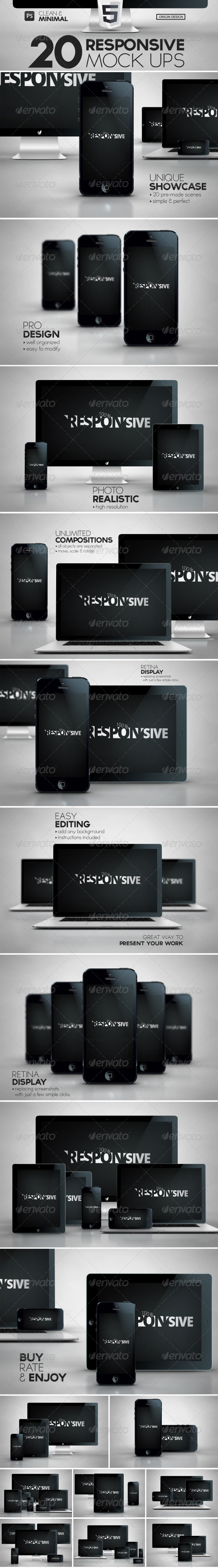 GraphicRiver 20 Responsive iScreens Mock Up Pack 5389510