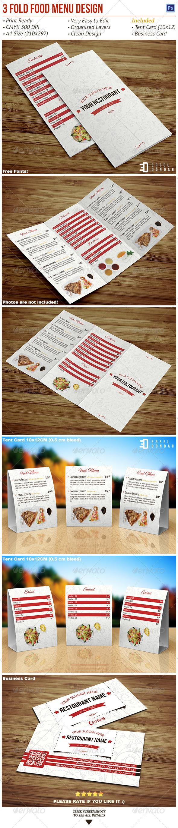 GraphicRiver Tri-Fold Food Menu Design 5389511