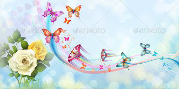 GraphicRiver Roses and Butterflies 5389518