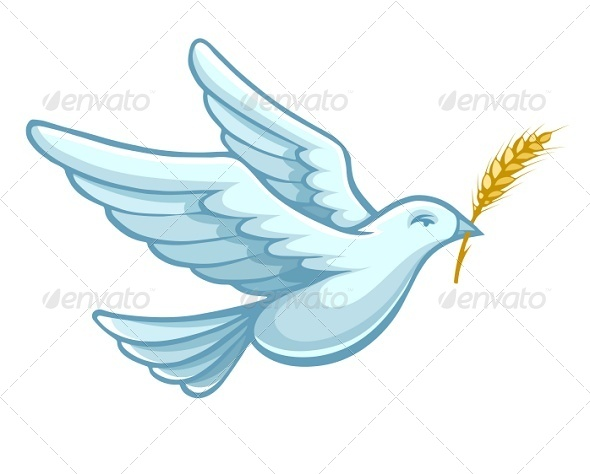 GraphicRiver Flying Dove Bird with Wheat Ear Vector 5389954