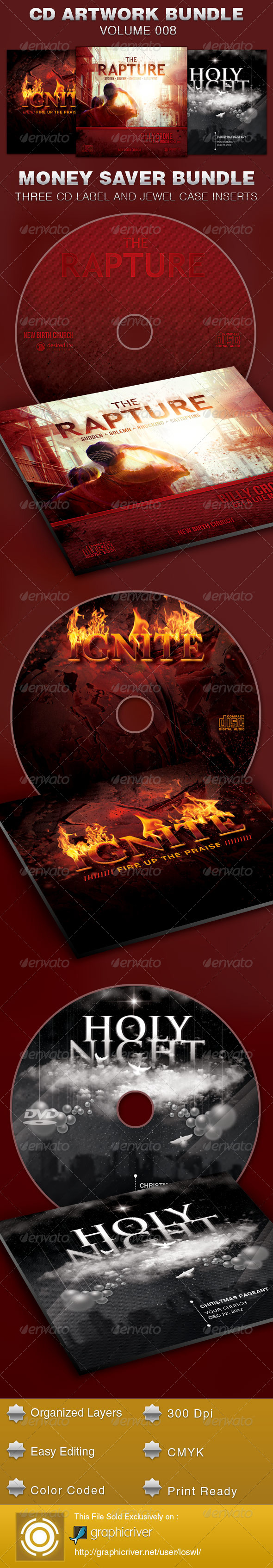 CD Cover Artwork Template Bundle-Vol 008 - CD & DVD Artwork Print Templates